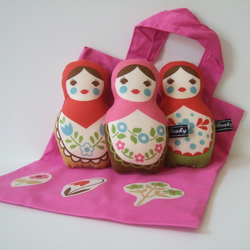 3 babushkas in a bag - Pink