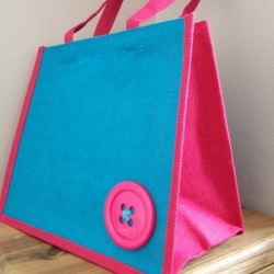 Button Jute shopping bag