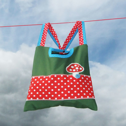2 in 1 peg bag - Green and red with toadstool - Limited edtion