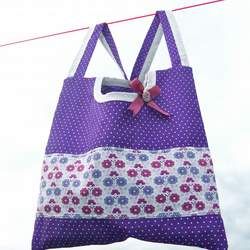 2 in 1 peg bag - Purple Polka dot and Liberty Floral - Last one