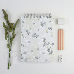 B6 'Forget-me-nots' Japanese Silkscreened Notebook, Eco Friendly Paper, Small Jo