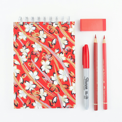 B6 'Red Snowbell' Japanese Silkscreened Notebook, Eco Friendly Paper, Small Jour