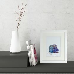 Owl Pair Love Mini Framed Print (can be personalised)