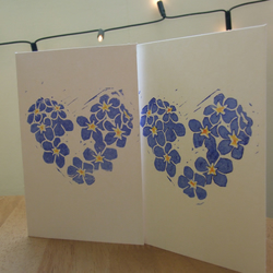 Forget-me-not Blank Hand Printed Card