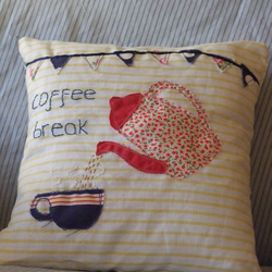 Coffee Break Embroidered Cusion