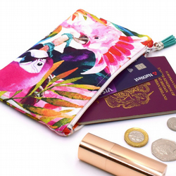 Tropical Birds Small Zip Purse Coin Purse Passport Holder