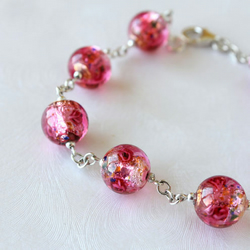 Carnival - A  Foiled Glass Bead and Sterling Silver Bracelet