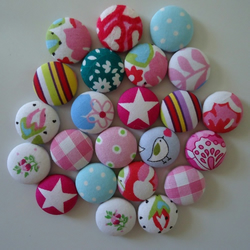 Fabric Covered Button Magnets (Set of 6)