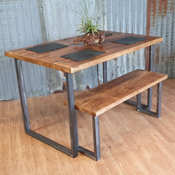 Industrial dining table with steel square loop legs and bench