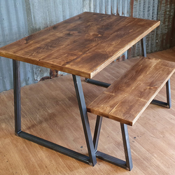 Industrial rustic style dining table with trapezium legs and bench