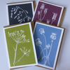 Pack of 4 linocut greeting cards. Gift for a gardener. FREE UK postage.