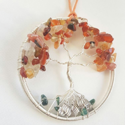 Tree of life sun catcher, orange sun catcher, gemstone tree, Carnelian Tree