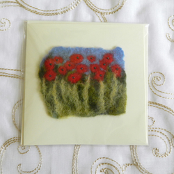 Handmade Felt Blank Card Red Poppies