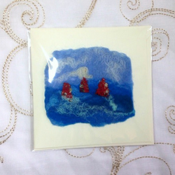 Handmade Felt Red Yachts Birthday Fathers Day Holiday Blank Card