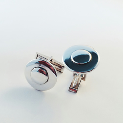 Sterling silver 'bulls-eye' cufflinks