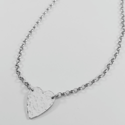 Sterling silver solid heart necklace