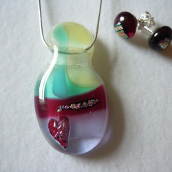 Glass Pendant and studs