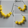 Handmade Yellow Wood Wooden Bead Beaded Necklace - Minimalist Geometric Contrast