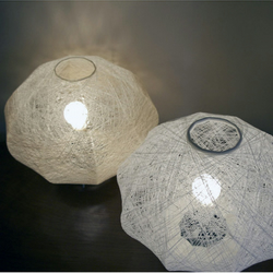 Spun textile white table lamp