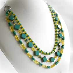 3-row Turquoise and Yellow Necklace