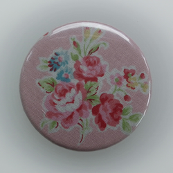 Fabric covered handbag mirror Pink with Roses