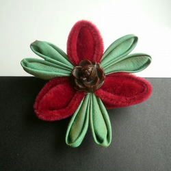 Kanzashi Brooch - Claret Velvet and Green with Vintage Buttons OOAK gift wrapped and posted free to the UK
