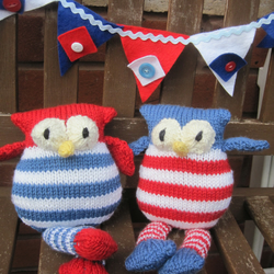 red, white and blue Owl toy