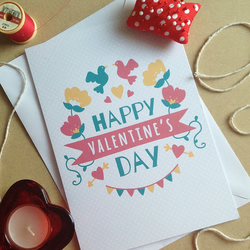 Pretty Floral Modern Valentine's Day Card