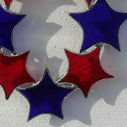 Christmas Decoration, Stained Glass Christmas Star Suncatcher - Red & Blue