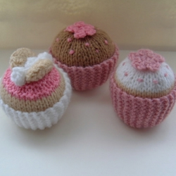 Three Pink Knitted Cupcakes