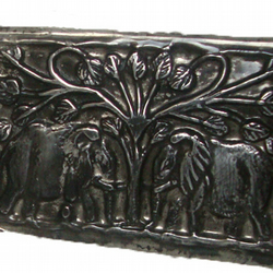 Elephants Meeting under a Tree in Pewter