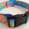Dog Collar - Handmade - Bright blue with pink rose fabric design