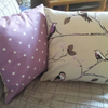 Cushion Cover - Plum Bird on tree with purple spotted backing