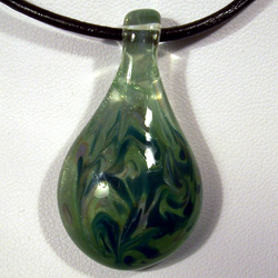 Frosted Sparks - Green Glass Pendant