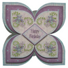 Happy Birthday Lilac Quad Shaped Card Luxury Handcrafted 3D Decoupage Card
