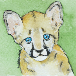 ORIGINAL ACEO No.50 'Lion Cub' Wildlife Watercolor & Charcoal Painting