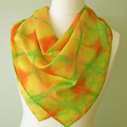 Hand-dyed Silk Scarf, Large Square, Shawl, Gold, Green, Red