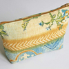 Make Up Bag, Cosmetics Purse, Blue Floral Linen-Type Fabric