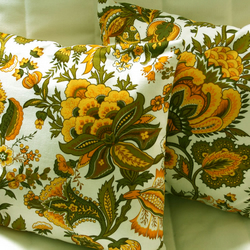 SALE Cushion Cover, Retro Sekers Fabric 'Emma', Yellow