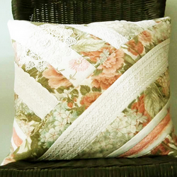 Cushion Cover, Patchwork, Vintage Linen, Lace, Sanderson Fabric
