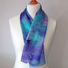 Hand Dyed Silk Scarf, Medium, Long, Turquoise, Lilac, Purple, Magenta
