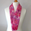 Hand Dyed Silk Scarf, Medium, Long, Pink, Lilac, Magenta, Purple