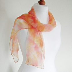 Hand Dyed Silk Chiffon Scarf, Long Scarf, Red, Orange, Yellow