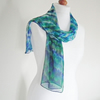 Hand Dyed Silk Chiffon Scarf, Long Scarf, Blue, Green, Lime