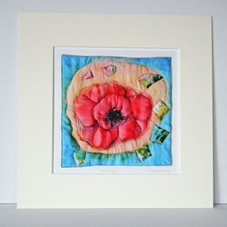 Textile Art Print, Mounted Print, 12 x 12, 'Corn Poppy', Signed Print