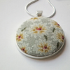 "Necklace, Vintage Floral Fabric Pendant, Silver-Plated, 18"" Chain"