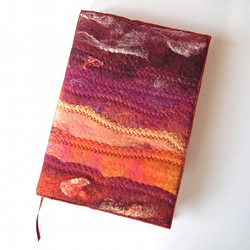 Felt Notebook, Sketchbook, Journal Cover, A5, Handmade Felt, 'Red Sampler'