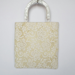 Lace Handbag, Vintage Lace, Wedding Bag, Gold Satin Lining, Acrylic Handles