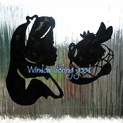 Alice in wonderland silhouette alice and the white rabbit window cling sticker