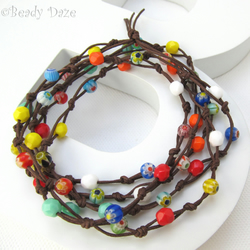 Czech fire polish and millefiori beaded surf necklace made to order